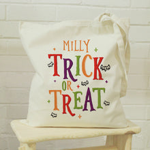 Load image into Gallery viewer, Personalised Trick or Treat Halloween Treats Tote Bag
