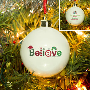 Personalised Very Hungry Caterpillar Believe Bone China Bauble