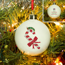 Load image into Gallery viewer, Personalised Very Hungry Caterpillar Candy Cane Bone China Bauble