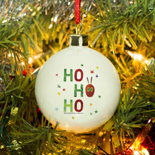 Load image into Gallery viewer, Personalised Very Hungry Caterpillar Ho Ho Ho Bone China Bauble
