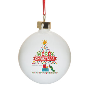 Personalised Very Hungry Caterpillar Merry Christmas Tree Bone China Bauble