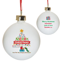 Load image into Gallery viewer, Personalised Very Hungry Caterpillar Merry Christmas Tree Bone China Bauble