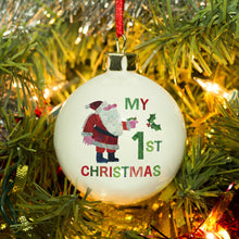 Load image into Gallery viewer, Personalised Very Hungry Caterpillar My 1st Christmas Bone China Bauble