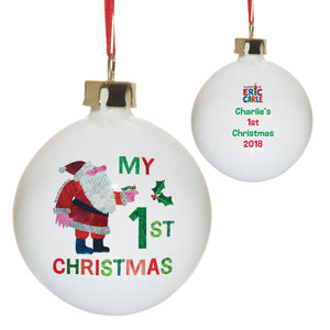 Personalised Very Hungry Caterpillar My 1st Christmas Bone China Bauble