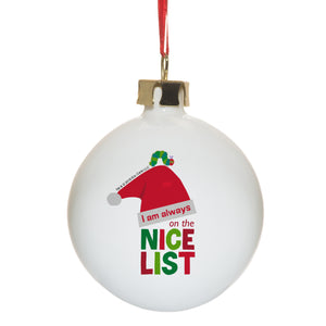 Personalised Very Hungry Caterpillar Nice List Bone China Bauble
