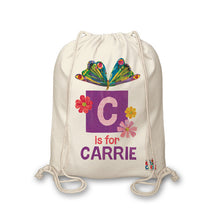 Load image into Gallery viewer, Personalised Very Hungry Caterpillar Initial Butterfly Drawstring Bag