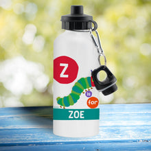 Load image into Gallery viewer, Personalised Very Hungry Caterpillar Dot Initial Drinks Bottle