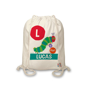 Personalised Very Hungry Caterpillar Dot Initial Drawstring Bag