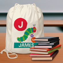 Load image into Gallery viewer, Personalised Very Hungry Caterpillar Dot Initial Drawstring Bag