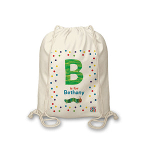 Personalised Very Hungry Caterpillar Spotty Initial Drawstring Bag