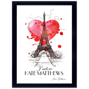 "Personalised Framed ""J'Adore"" Paris Print"
