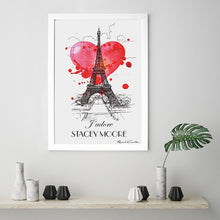 "Load image into Gallery viewer, Personalised Framed ""J'Adore"" Paris Print"