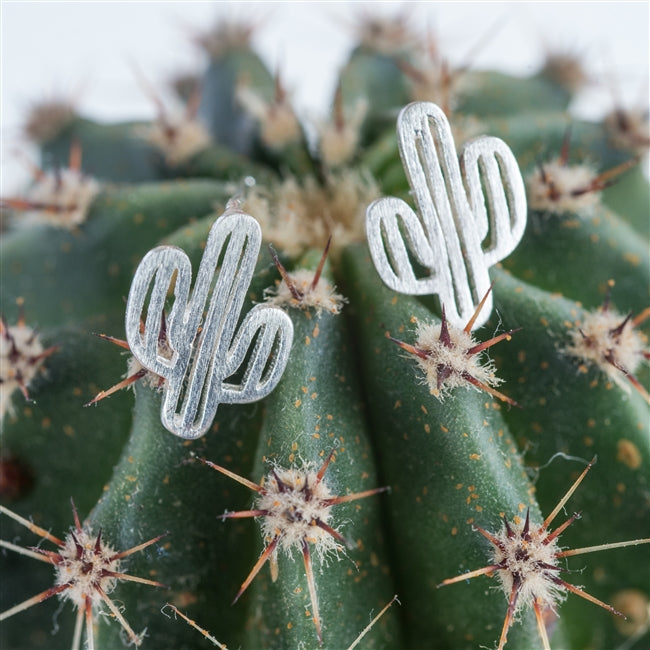 Sterling Silver Cactus Earrings