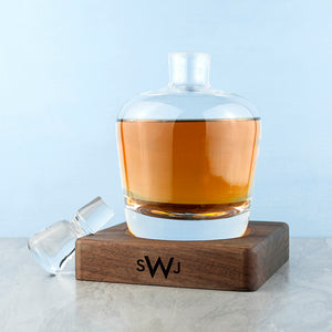 Monogrammed LSA Whisky Decanter & Walnut Base