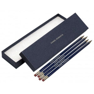 12 Personalised Navy Blue Pencils - Silver Cuff & Eraser