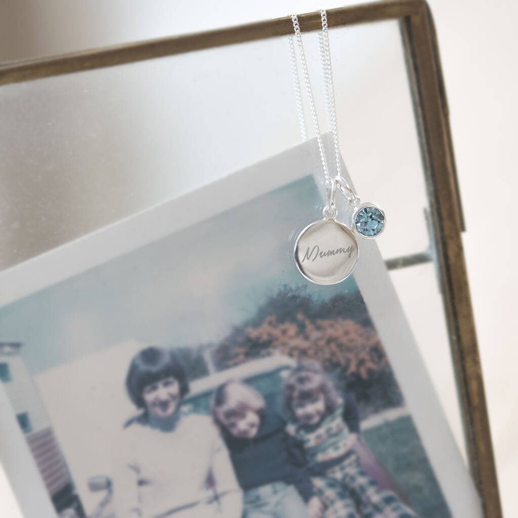 Personalised Sterling Silver Birthstone Necklace