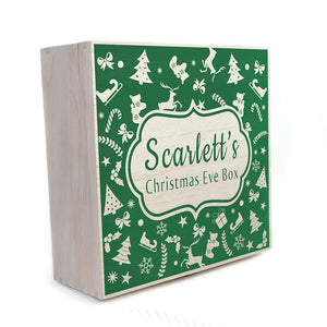 Personalised Large Wooden Festive Pattern Christmas Eve Box