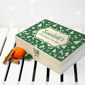 Personalised Small Wooden Festive Pattern Christmas Eve Box