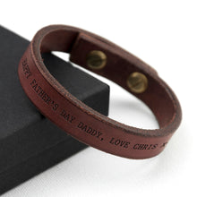 Load image into Gallery viewer, Personalised Men's Brown Leather Bracelet