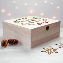 Load image into Gallery viewer, Personalised Large Wooden Jolly Holly Christmas Eve Box