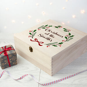 Personalised Large Wooden Jolly Holly Christmas Eve Box