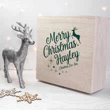 Load image into Gallery viewer, Personalised Wooden Reindeer Christmas Eve Box - Large