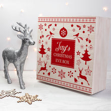 Load image into Gallery viewer, Personalised Wooden Festive Scandi Print Christmas Eve Box