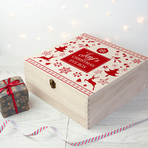 Personalised Wooden Festive Scandi Print Christmas Eve Box