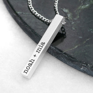Personalised Men's Solid Bar Necklace - Silver
