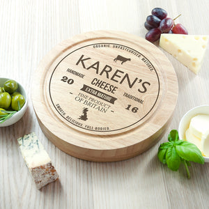 Personalised Traditional Cheese Brand Wooden Board Set