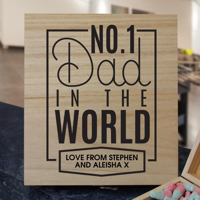 No.1 Dad Personalised Wooden Sweet Box