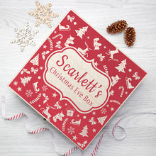 Load image into Gallery viewer, Personalised Large Wooden Festive Pattern Christmas Eve Box