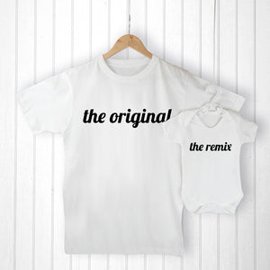 Personalised Daddy & Me Remix T-Shirt & Baby Vest Set
