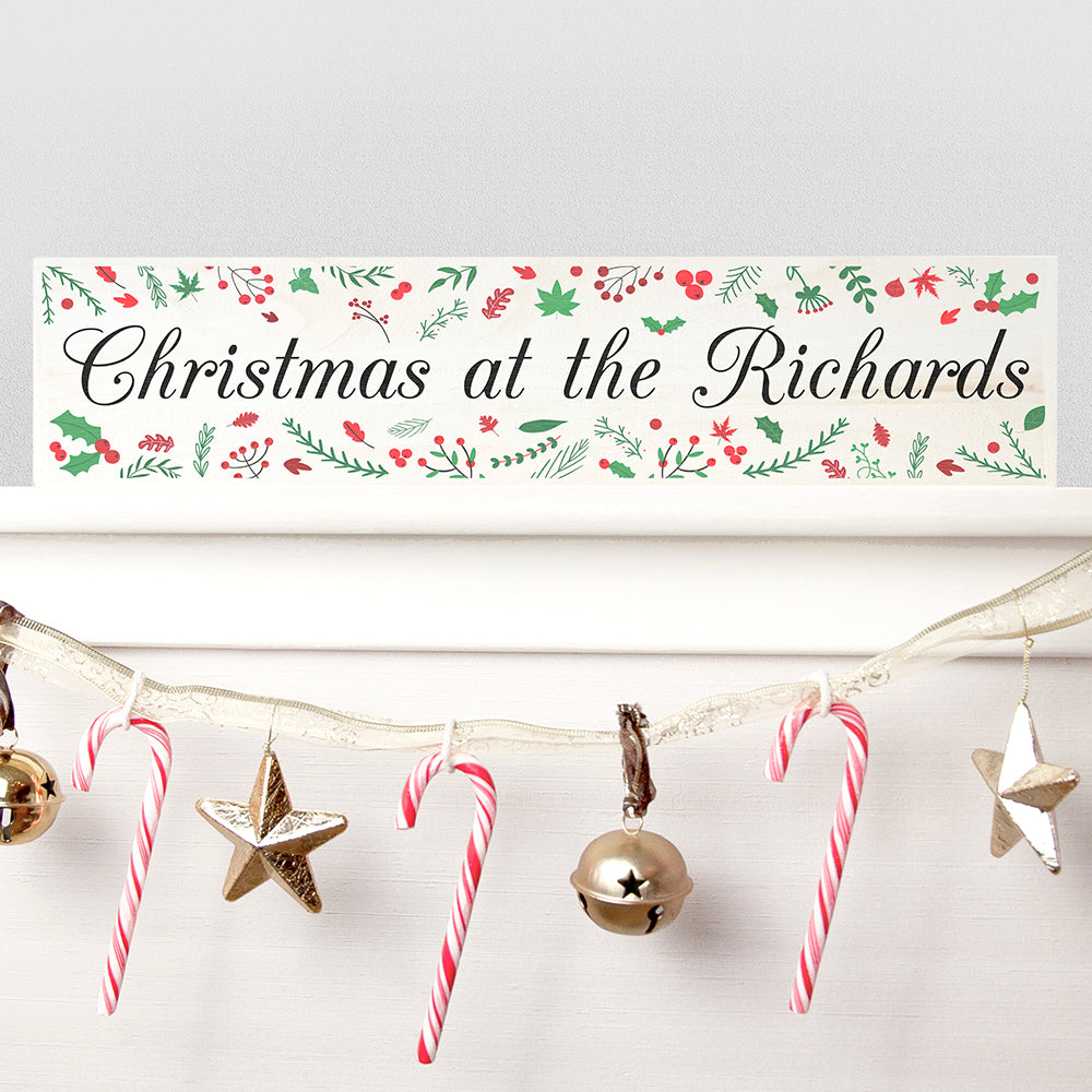 Personalised Holly Festive Wooden Christmas Mantle Decoration