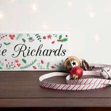 Load image into Gallery viewer, Personalised Holly Festive Wooden Christmas Mantle Decoration