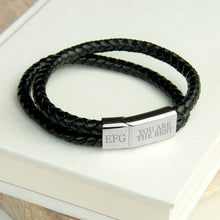 Load image into Gallery viewer, Personalised Men's Dual Woven Leather Bracelet In Black