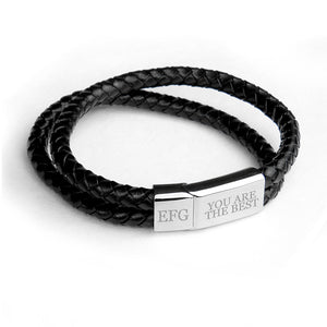 Personalised Men's Dual Woven Leather Bracelet In Black