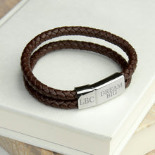 Load image into Gallery viewer, Personalised Men's Dual Woven Leather Bracelet In Umber