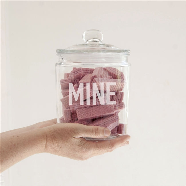 Personalised Large Modern Font Glass Storage Jar
