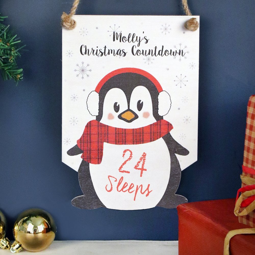 Personalised Penguin Christmas Advent Countdown