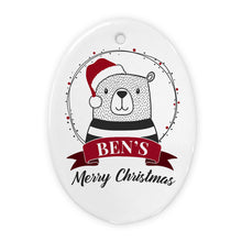 Load image into Gallery viewer, Personalised Polar Bear Christmas Decoration