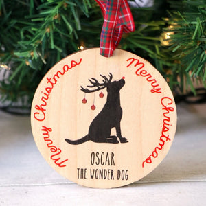 Personalised Wooden Dog Christmas Decoration
