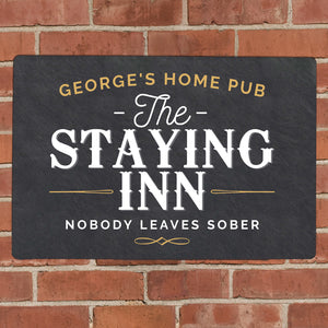 Personalised Staying Inn Metal Bar Sign