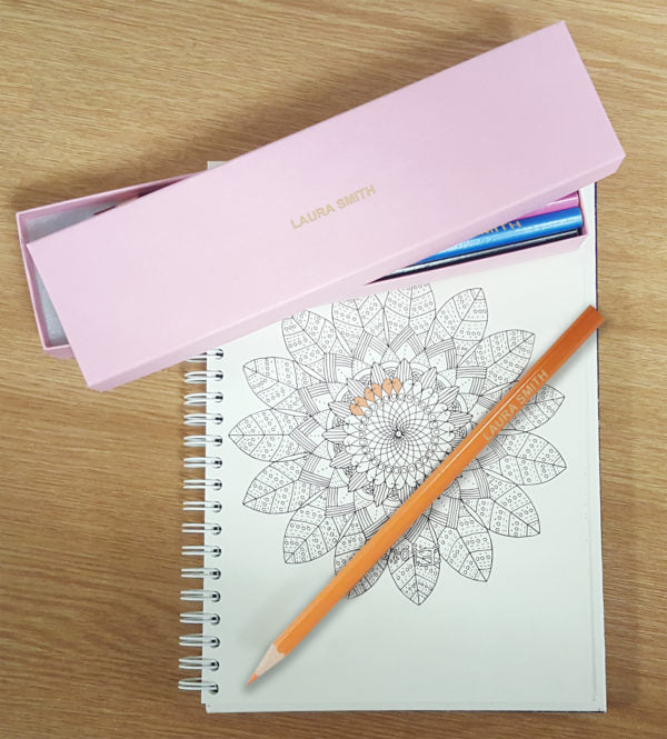12 Personalised Colouring Pencils In Pink Box