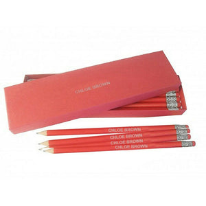 12 Personalised Red Pencils - Silver Cuff & Eraser