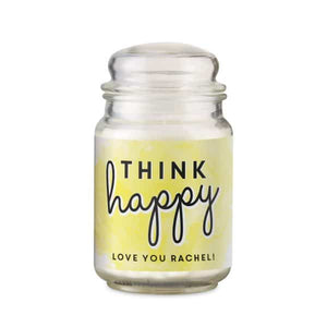 Personalised Think Happy Candle Jar