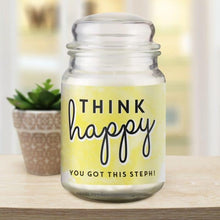 Load image into Gallery viewer, Personalised Think Happy Candle Jar
