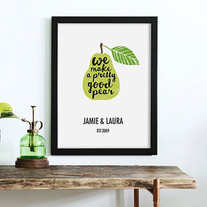"Personalised Framed ""Pretty Good Pear"" Print"