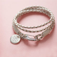 Load image into Gallery viewer, Personalised White Leather & Sterling Silver Bracelet Wristband