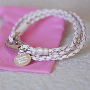 Personalised White Leather & Sterling Silver Bracelet Wristband
